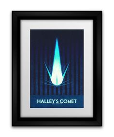 Space Travel Poster  Sol System Halley's Comet by FabledCreative