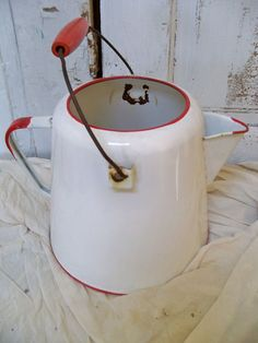 Vintage red and white enamelware