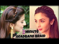 CUTE & EASY 2 Min Everyday Headband Braid For School, College, Work | Alia Bhatt | Indian Hairstyles - YouTube
