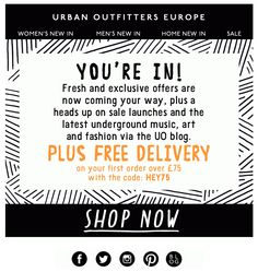 Urban Outfitters Welcome Email