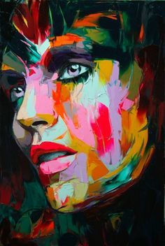 Francoise Nielly is an amazing artist. Her work is bold and dramatic in colour and texture. This is my all-time favourite painting but unfortunately it was sold to someone in Russia :-( She works from black and white photos and uses a bold colour range applied with a pallet knife. Each year she seems to intoduce a dominant colour from Yellows to Blues to Reds ...very cool work!