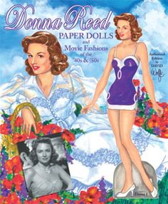 Donna Reed Doll to cut-out and dress-up.  Front Cover. By David Wolfe, Paperdollywood.  Available to purchase from paperdollreview.com