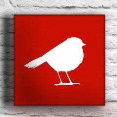 Robin Bird Custom Silhouette Painting by waddlingduck on Etsy, $37.00