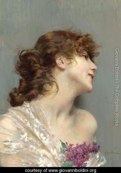 Portrait Of A Lady With Lilacs - Giovanni Boldini - www.giovanniboldini.org