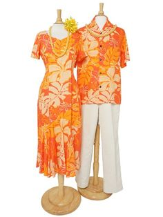 Hilo Hattie Royal Hibiscus Orange Rayon Hawaiian Short Sleeve Dress