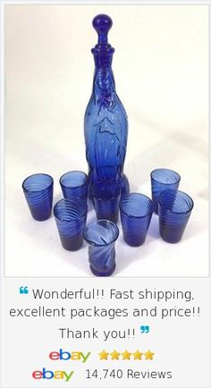 """Beautiful Lady of Guadalupe Virgin Mary hand blown set, each with pontils on base. Vintage,  Cobalt Blue glass Holy Water Decanter Bottle has handle and stopper with coordinating set of 8 Handblown 2-1/2"""" Glasses."""