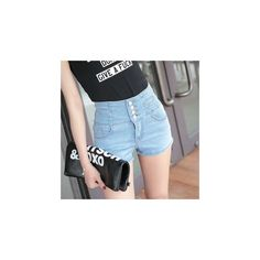 High Waist Denim Shorts (€25) ❤ liked on Polyvore featuring shorts, women, highwaist shorts, short jean shorts, high rise denim shorts, high-rise shorts and denim short shorts