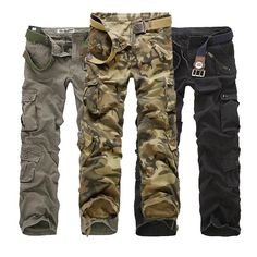 Sale 21% (39.99$) - Mens Casual Multi Pockets Cargo Pants Multi Colors Loose Straight Leg Pants
