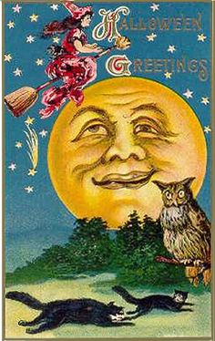 Big Man Moon--Fab Halloween Postcard