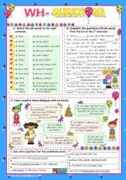 English worksheet: Basic Wh- Questions (1)
