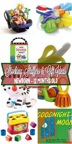 Great gift ideas for baby! Perfect for stocking stuffers, Christmas, and other celebrations! Includes gifts for : newborn baby to 12 month old baby