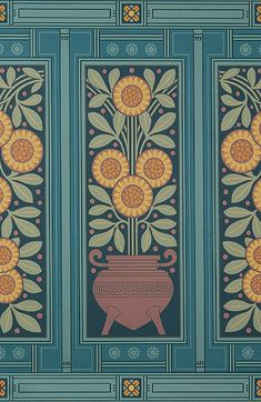 Featuring a bold sunflower design, this floral wallpaper dado from Bradbury & Bradbury is a perfect complement to any Herter Brothers or Victorian inspired rooms. Eclectic Wallpaper, Bohemian Wallpaper, Victorian Wallpaper, Doll House Wallpaper, Home Wallpaper, Victorian Manor, Spider Art, Sunflower Design, Aesthetic Movement