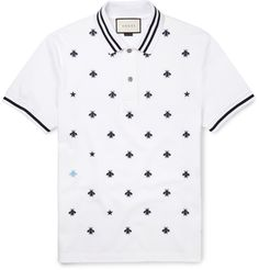 Gucci Slim-fit Embroidered Cotton-blend PiquÉ Polo Shirt In White Cotton Mens Designer Polo Shirts, Mens Polo T Shirts, Pique Polo Shirt, Men's Polos, Men's Shirts, Camisa Polo, Gucci Men, Gucci Gucci, Polo Shirt Outfits