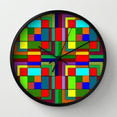 Geometric color Wall Clock by Pedro Vale - $30.00
