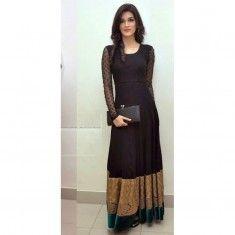Bollywood Replica -Kriti Sanon Designer Stylish Black Long Party Wear Gown- 5425(SIA -S-5400)