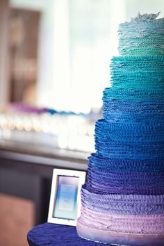 Layers of #gradient #ombre frilled fondant from #blues to #purples. #ruffles