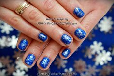 Gelish Blue and Silver Snowflakes manicure by www.funkyfingersfactory.com