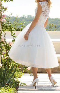 Bateau Sleeveless Lace Tea Length A-Line White Wedding Bridal Formal Dress Dresses Gowns IN GOLD!! YES!!!