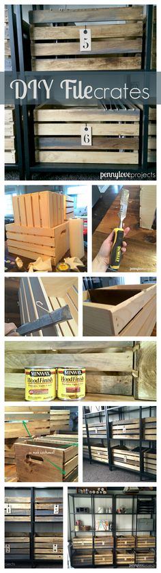 Turn a JoAnn fabrics crate into a vintage file box using a wood scraper and some weathered oak stain. | pennyloveprojects.com