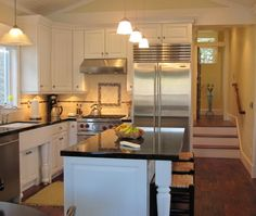 Traditional L-shaped Pale Yellow kitchen, white cabinets, $20,000 or less, Monique Jacqueline Designs, Other