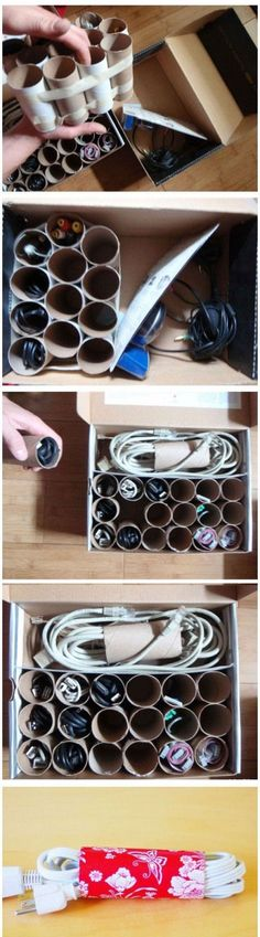 DIY cord storage, you could probably make it look really cute with some wrapping paper or scrapbook paper. #RealEstateBuzz