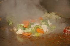 check out the veggies sizzling!!!