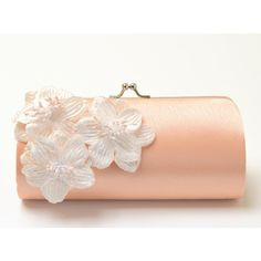 Shabby Chic Peach Clutch - Bridal Clutch Bridesmaid Clutch - Kisslock... (80 BAM) ❤ liked on Polyvore featuring bags, handbags, clutches, accessories, bolsas, purses, evening handbags, flower purse, formal clutches and prom clutches