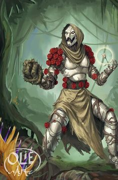 Rose, Warforged Druid by Olieart on DeviantArt Fantasy Character Design, Character Design Inspiration, Character Concept, Character Art, Character Ideas, Character Sheet, Dungeons And Dragons Characters, D D Characters, Fantasy Characters