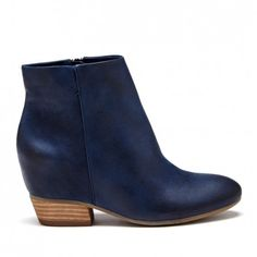 Women's Washed Navy Leather 3 Inch Hidden Wedge Leather Bootie | Charlotte by Sole Society