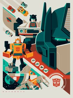 """AUTOBOTS by Tom Whalen – $50.00 18×24"""" – 7 color screen print launching at New York Comic Con. Tom Whalen has done some very interesting work, and I can imagine this right next to his Decepticon print would look amazing together."""