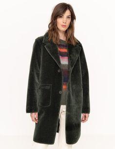 Abrigo reversible de cuello con solapa Boutique, Fur Coat, Jackets, Fashion, Haircuts, Wraps, Fur, Clothing, Down Jackets