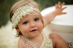 Shabby Chic Ruffled Chiffon and Diamontes Cream Vintage Skinny Headband