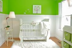 Our Baby's Nursery with Lime Green and White Walls and Decor: Our modern lime green and white nursery was the result of our wish for a sophisticated, gender neutral space for our baby.  Wainscoting for the walls was