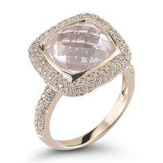 EMILY SARAH: 14k rose gold ring with .62 carats of pave diamonds and pink quartz.