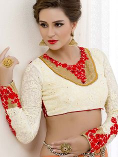 Round Neck Blouse with glossy kundan and resham embroidered work. Item code: BHP147 http://www.bharatplaza.com/new-arrivals/accessories.html