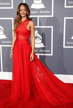 Rihanna Red Prom Dress Grammys 2013 Red Carpet Evening Formal Gown - TheCelebrityDresses