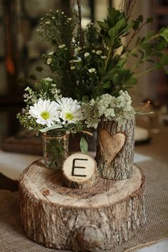 rustic woodsy baby shower centerpiece. Love the burlap table runner