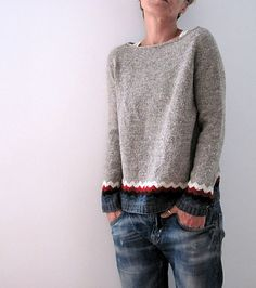 Kaarina Pullover pattern by Isabell Kraemer Ravelry: lilalu's Kaarina (my own). Sweater Knitting Patterns, Knit Patterns, Knitting Sweaters, Fair Isle Knitting, Free Knitting, Pull Angora, Oversize Pullover, How To Purl Knit, Knitting Projects