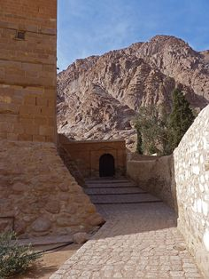 A view from St. Catherine Monastery to Mount Sinai where, according to the Book of Deuteronomy, Moses received the Ten Commandments.