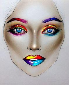 Makeup face charts, makeup themes, makeup art, makeup drawing, makeup ins. Fx Makeup, Makeup Inspo, Makeup Cosmetics, Makeup Inspiration, Beauty Makeup, Maquillage Halloween, Halloween Makeup, Makeup Themes, Makeup Ideas