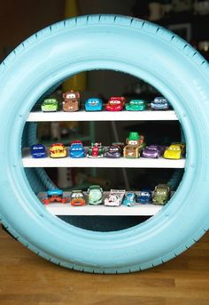 diy toy shelves from a used tire, shelving ideas