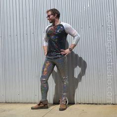 Holographic Meggings Mens Leggings 12 Colors door SeaDragonStudio