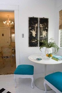French stools with tulip table for small space