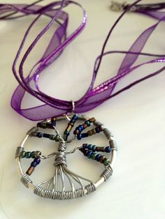 Purple Wire Wrapped Tree of Life Pendant by GreenGirlBeads on Etsy,
