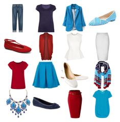 """""""Red and Sky Blue Capsule"""" by krista-knudsen ❤ liked on Polyvore featuring 7 For All Mankind, LE3NO, Glamorous, Yumi, Dorothy Perkins, LnA, Alexander Wang, Warehouse, L.K.Bennett and Vince Camuto"""