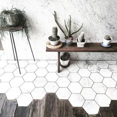 Awesome 58 Eye-Catching Hexagon Tile for Kitchen and Bathroom https://cooarchitecture.com/2017/05/17/60-eye-catching-hexagon-tile-kitchen-bathroom/