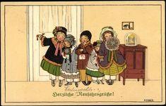 Artist Postcard Pauli Ebner, Neujahrsgrüße, Kinder