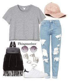 """Untitled #173"" by thingswelovee ❤ liked on Polyvore featuring Topshop, Monki, Forever 21, Glamorous and adidas"