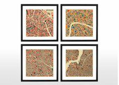 London, Amsterdam, Vienna, Munich, Budapest, Rome, Paris, Brooklyn and Berlin Maps by Jazzberry Blue   made.com