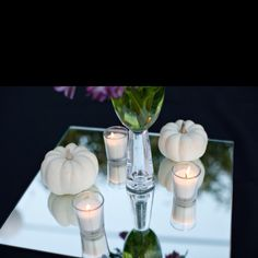 Fall wedding decor: white pumpkins